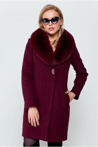 """Утепленное пальто """"Вайнона"""" бордовое"""