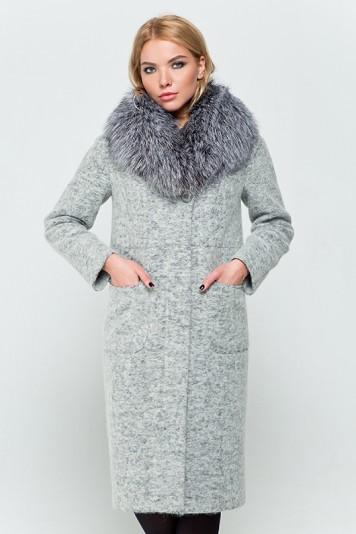"""Длинное зимнее пальто """"Фиби"""" светло-серое"""