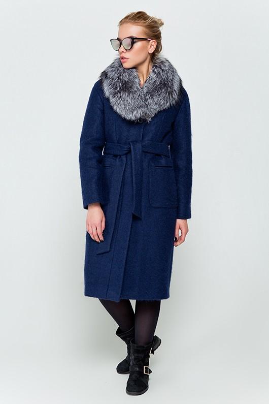"""Длинное зимнее пальто """"Фиби"""" синее"""